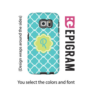 Monogram Samsung Galaxy S6 Edge case, aqua Samsung Galaxy S6 case, quarterfoil Galaxy case, 3D wrap around Galaxy case, Galaxy tough case