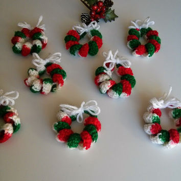Set of 8 Mini Wreaths Christmas Ornament Decoration Crochet Christmas Tree Ornament Christmas Tree Decoration Christmas Bow Alternative