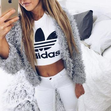 Adidas Sexy Print Letter Short Shirt Crop Tops Black White