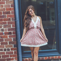 Floral and Lace Sundress in Rust