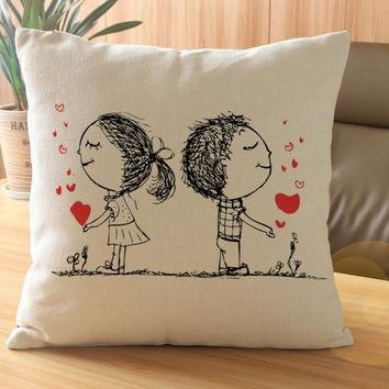 Lovers Painting Linen Cushion Cover Throw Waist Pillow Case Sofa Home Decor