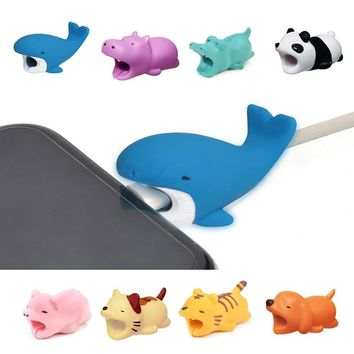 Cute Animal Bites Anti-Break USB Data Cable Protector Universal Cable Winder Saver for iPhone Charger Cable Cord Cover
