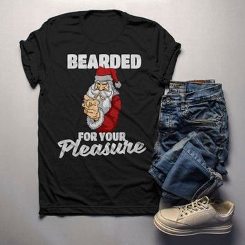 Men's Funny Santa Shirt Christmas TShirt Bearded For Pleasure Naughty Santa Tee Offensive Christmas Shirt