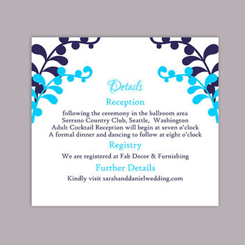 DIY Wedding Details Card Template Editable Text Word File Download Printable Details Card Navy Blue Turquoise Details Card Information Cards