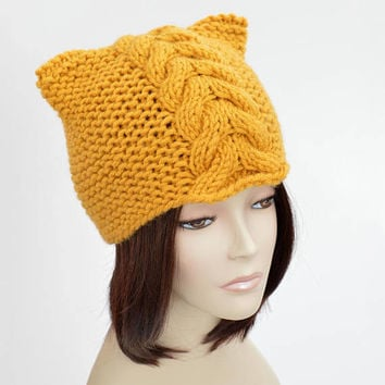 Cable Knit Hat Pattern // Cable Cat Hat Cable Hat Pattern Cat Ears Cat Beanie Woman Hat Cabled Hat Pattern Knit Beanie Bonnet Femme