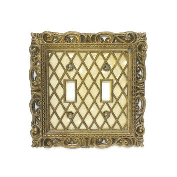 Vintage Switch Plate Cover, Double Light Switch, Ornate Metal Filigree Cover,Mid Century Fixtures,Double Toggle Cover,American Tack Hardware
