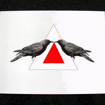 Raven Birds Illustration and Triangles Geometry Shapes Mixed Media Art Print for Home Wall Decor