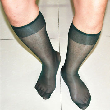 New dark green ultra-thin tube the color of pure sexy silk sexy Japanese men's socks tube socks