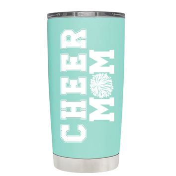 Pom Pom Cheer Mom on Seafoam 20 oz Tumbler Cup