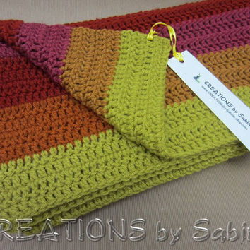 """Handmade Crochet Afghan Lap Blanket Throw, Stripes, 35x38"""", Pea Green Rust Color Burgundy Dark Pink Brown Colorful READY TO SHIP"""