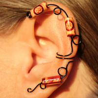 Tribal Vine Ear Cuff Non Pierced Wood Beads - Color Choices Cartilage