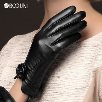 BOOUNI Genuine Leather Gloves Fashion Women  Sheepskin Glove Wrist Rose Black Leather Driving Gloves Hot Trend NW469