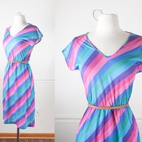 1970s Rainbow Striped Dress / Vintage 70s Dress / 70s Striped Dress / Sun Dress / Summer Dress / Mod Retro Pastel Dress / Casual 70s Dress