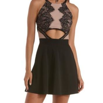 7451f3055eb Black Combo Cut-Out Lace Skater Dress by from Charlotte Russe