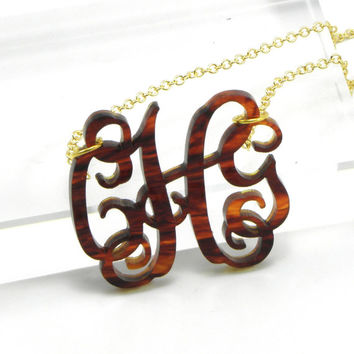 FREE SHIPPING Tortoise Shell Acrylic Monogram Necklace