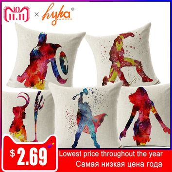 Hyha Marvel Comics Super Hero Cushion Cover Captain America Hawkeye The Avengers Home Decorative Pillow Cover for Sofa Cojines