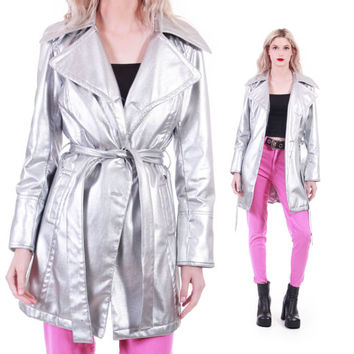 90s Vintage Silver Metallic Belted Coat 60s Style Mod Space Age Retro Futuristic Shiny Midi Trench Club Kid Clothing Womens Size Medium