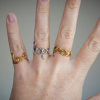 Joy / love / life / hope / custom word ring, handmade adjustable ring with personalized text, wire brass / copper / steel