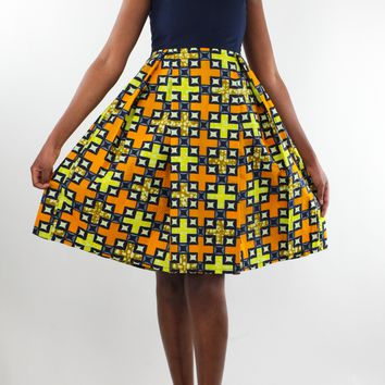 African Print Pleated Dress - Orange/Navy Blue Checkered