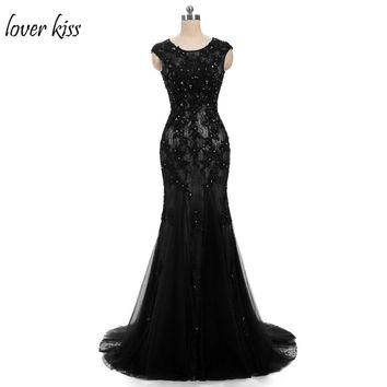 Lover Kiss Vestido De Festa Sexy Black Blue Evening Formal Dresses Beaded Luxury Lace Red Carpet Mermaid Prom Gowns Open Back
