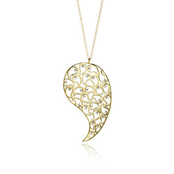 Jaali Gold Paisley Necklace Clear CZ