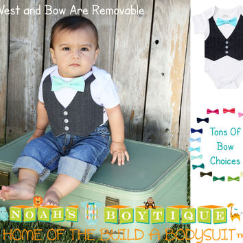 Baby Boy Clothes - Outfit For Weddings - Boys Shirt - Toddler - Ring Bearer Outfit - Spring Wedding - Mint and Grey - Turquoise - Lavender