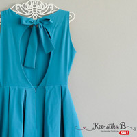 SALE - Backless Teal Blue summer dress simple pleated dress bow back tie dress Small