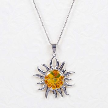 Sterling Silver Yellow Dried Flower Sun Necklace