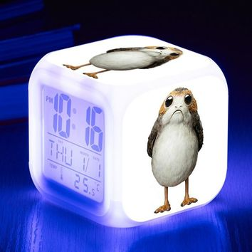 Star Wars Force Episode 1 2 3 4 5 Alarm Clock  The Last Jedi Porg bird  Action Figures Toys Square Wake up Watch Kids Birthday Xmas AT_72_6