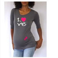"""Funny,cute, maternity Shirt """"Love"""" with footprints Perfect for valentine's day or everyday use"""