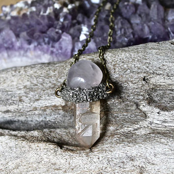 Rose Quartz & Crystal Necklace - Lemurian Seed Quartz Jewelry - Wiccan Jewelry - Raw Crystal Jewelry - Rose Quartz Necklace - Boho Style