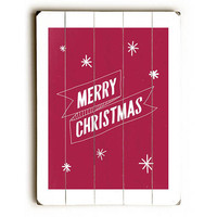 Merry Christmas by Artist Rebecca Peragine Wood Sign