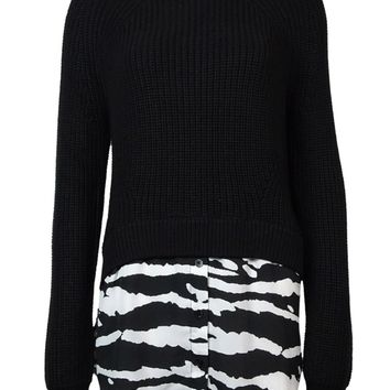 Michael Kors Women's Zebra Print Hem Long Sleeve Sweater