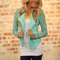 All the Right Moves Lace Jacket Green - Modern Vintage Boutique