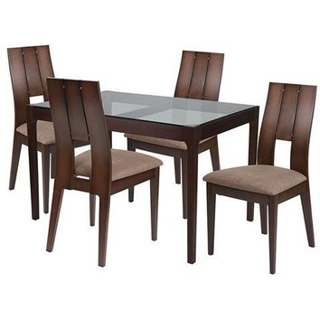 Winslow 5 Piece Espresso Wood Dining Table Set with Glass Top and Curved Slat Keyhole Back Wood Dining Chairs - Padded Seats