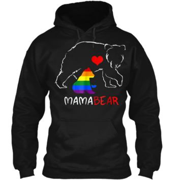 LGBT Mom Mama Bear  Mothers Gift Rainbow  Pullover Hoodie 8 oz