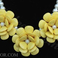 Yellow Necklace Three Flower Necklace Pearl Necklace Rosette Necklace
