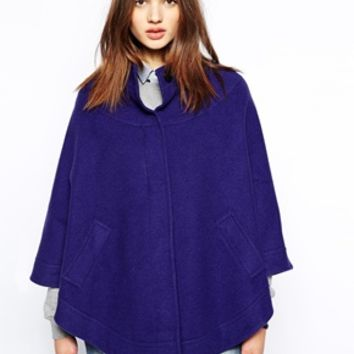 Helene Berman Collarless Cape with Concealed Button Front - Blue