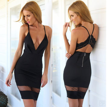V-neck Spaghetti Strap Sexy Lace Backless Patchwork One Piece Dress [4970293124]