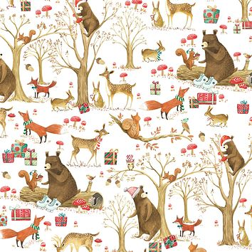 Bulk Ream Roll Christmas Gift Wrap Wrapping Paper, Forest Animals