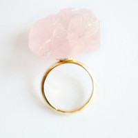 Pink raw crystal gold ring, simple, natural, gem, rose crystal unique eco friendly