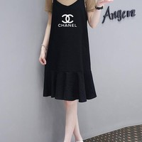 """Chanel"" Women Casual Fashion Short Sleeve T-shirt Sleeveless Strap V-Neck Letter Print Dress Set Two-Piece"