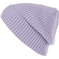 Purple rib knit beanie hat - hats - accessories - women