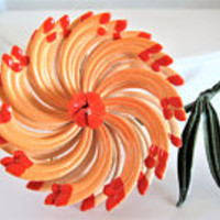 Orange 3D Brooch, Enamel Flower, Large Multipetal Pin, 70's Flower Power pin