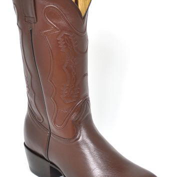 Gavel Handcrafted Men's Brown Goatskin French Square Toe Cowboy Boots