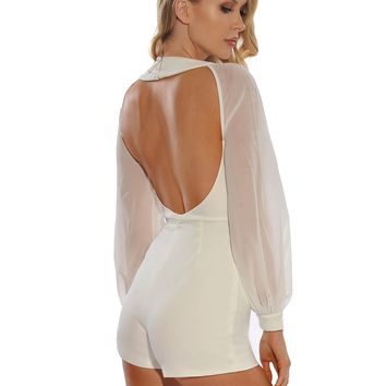 Naria Sheer Mesh Puffy Sleeve Cut Out White Stretch Crepe Romper