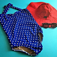 Royal blue & white polka dot retro one piece baby girl swimsuit Onesuit newborn to 12 mos.