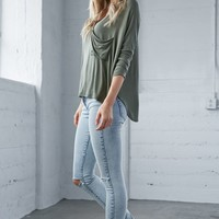 Meadow Cloud Ripped Mid Rise Skinny Jeans