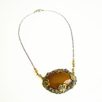 Art Deco Necklace Milk Chocolate Brown Glass Crystal Gold Brass Floral Pendant 1930s Jewelry
