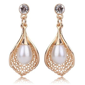 Bridal Dangle Golden Tulip and Pearl Chandelier Crystal